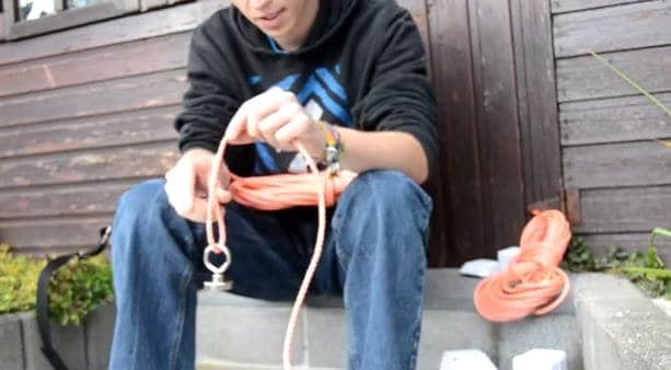 magneetvissen touw bevestigen
